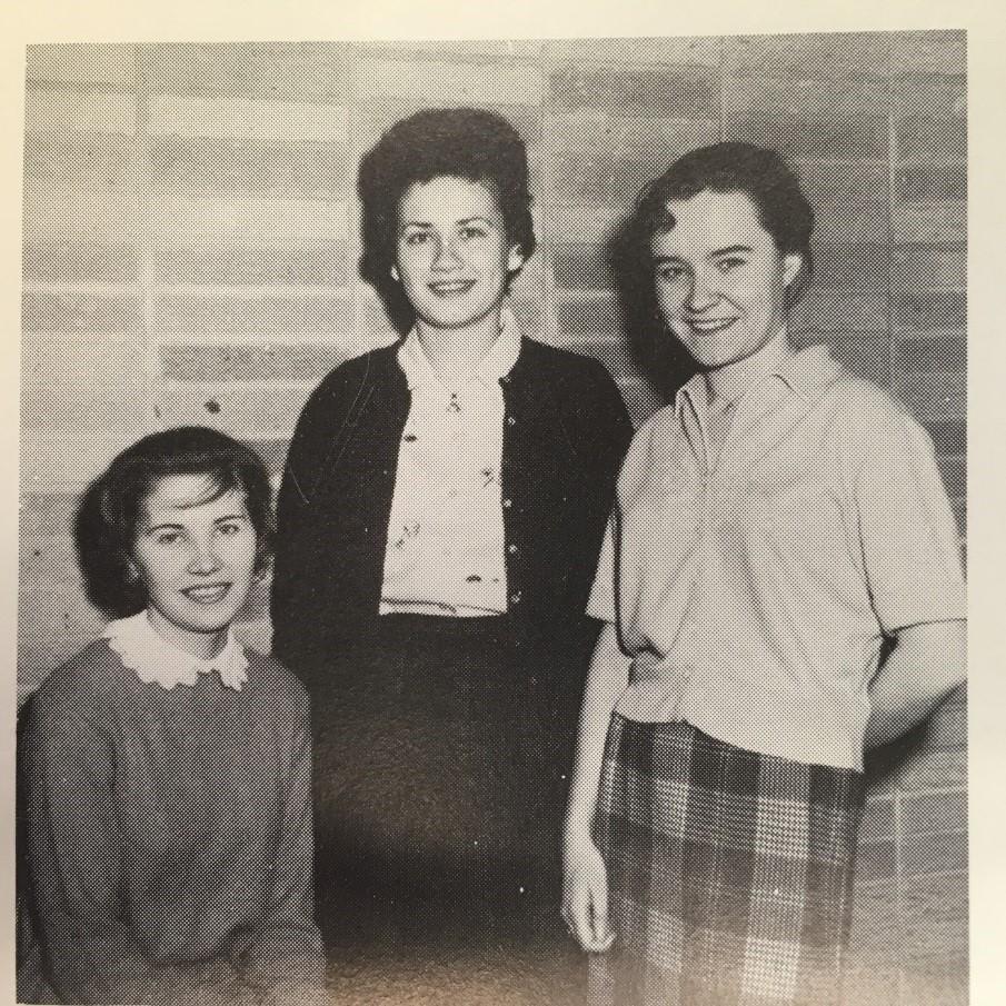 Karen Helms, Shareen Martin, and Darlene Lau: Officers of the last collegiate class at WLA, 1960-61.