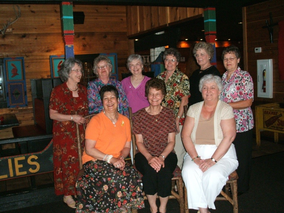 The first graduating class of the Winnebago Teachers Course met for a 50th reunion several years ago: (front) Gladys Stoll Brueske, Mary Hill Bittorf Cuff, Lois Petrus Kraus; (back) Jean Radtke Morrow, Gladys Klueger Heup, Jean Page Ziegler, Dorothy Ackerman Anderegg, Louise Glanzer Porth, Marie Gieseke Leinberger
